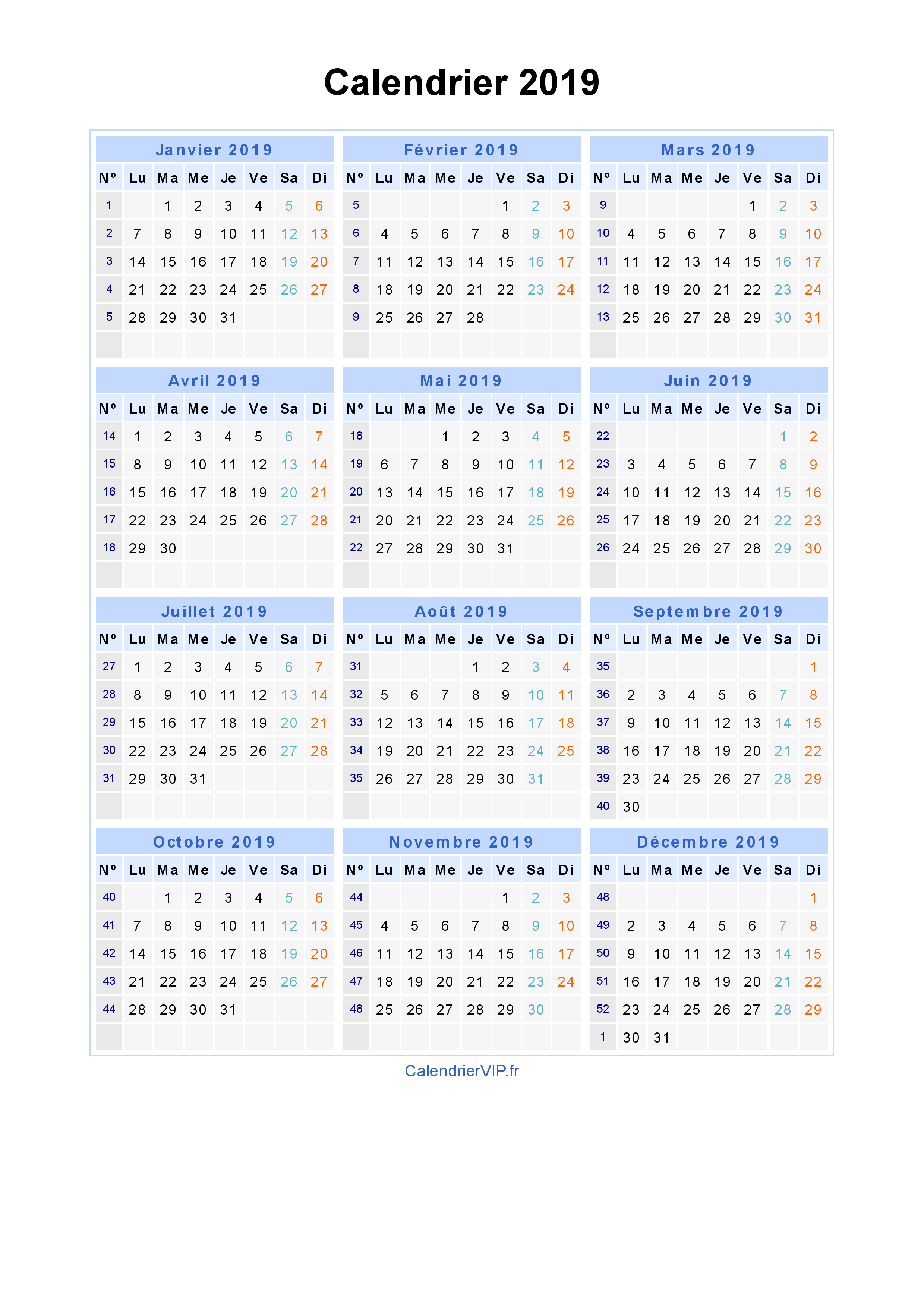 Calendrier Annuel 2020 A Imprimer Very Utile.Calendrier 2019 Gratuit A Imprimer 2019 Calendrier 2018